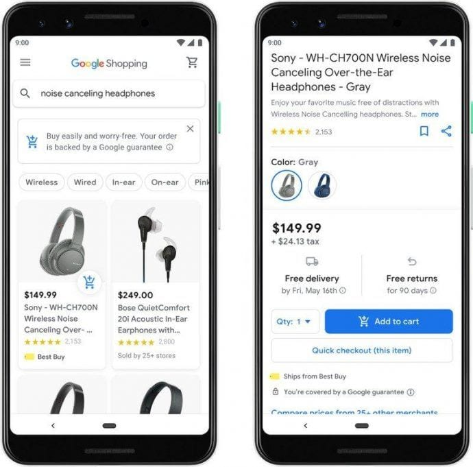 Order Google Shopping